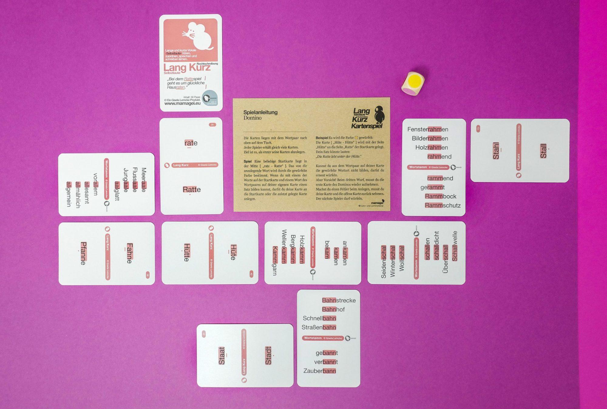 Lang Kurz Spielkarten mit Spielanleitung