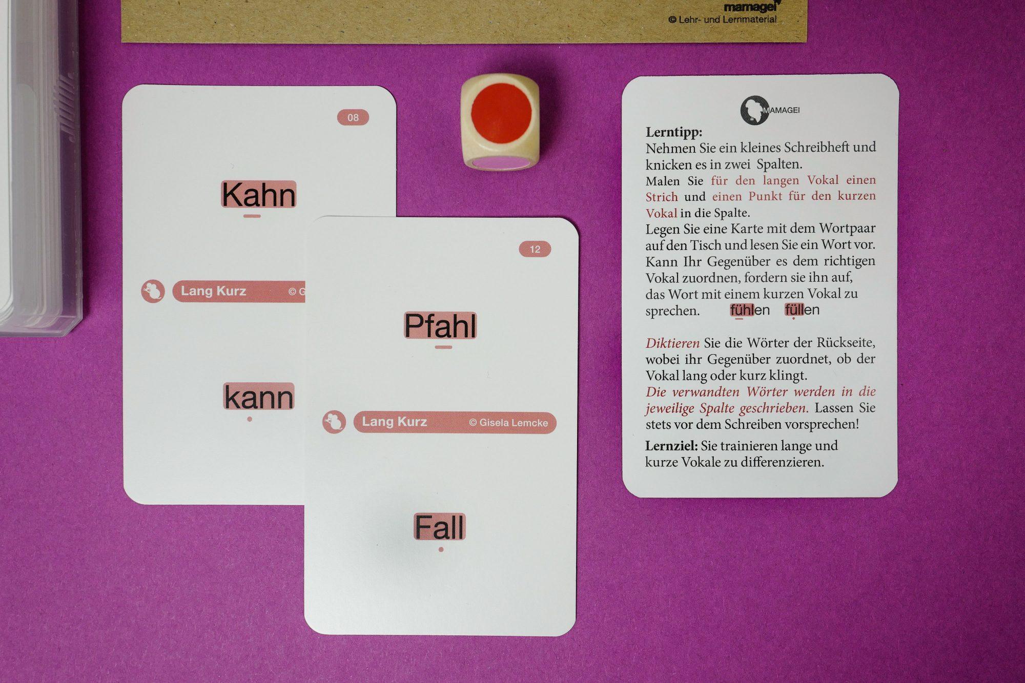 Lang Kurz Spielkarten mit Lerntipp