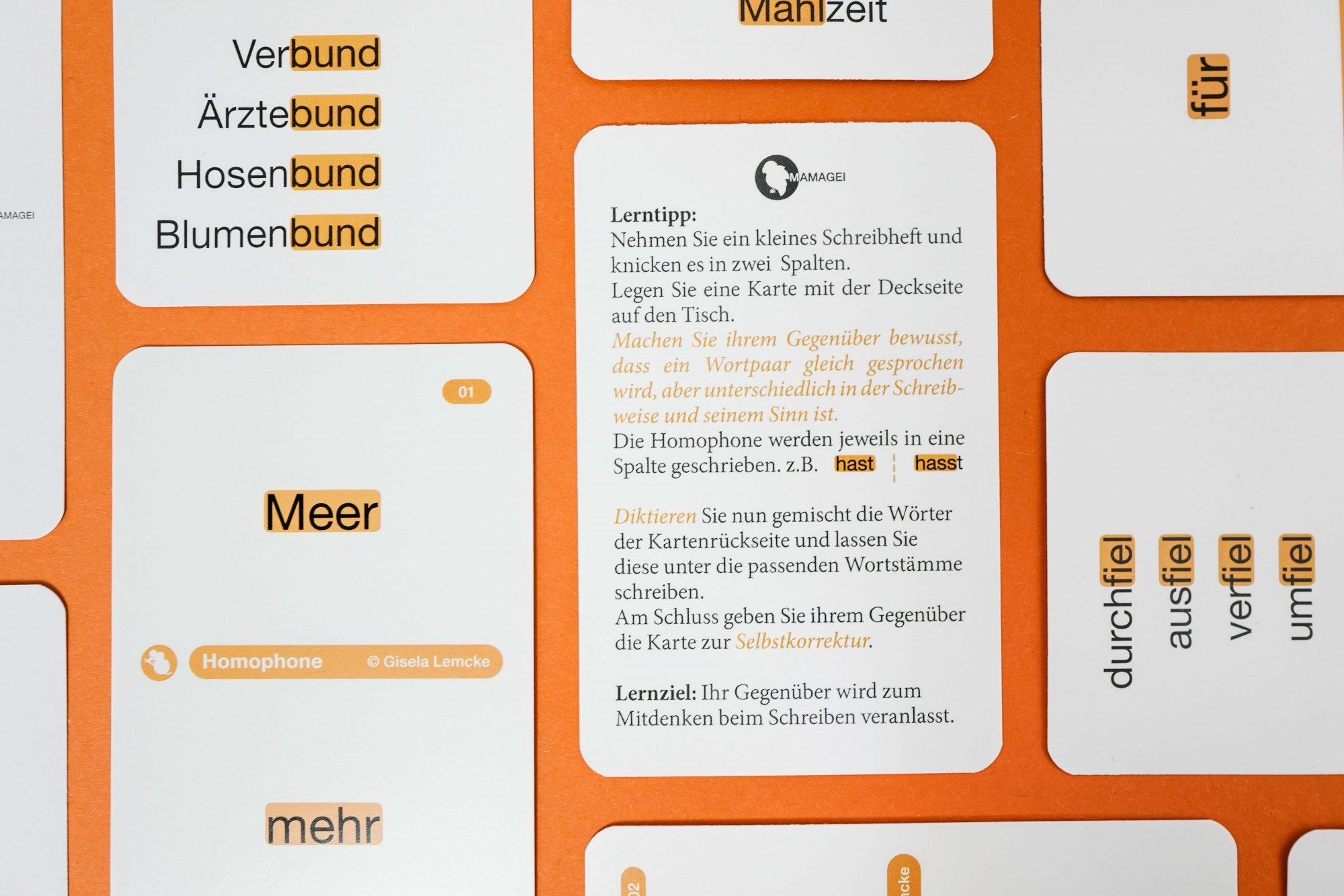 Gleicher Klang // Homophone Spielkarten Lerntipp